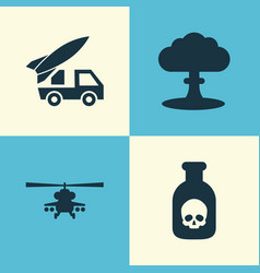 Combat icons set collection of ordnance atom vector