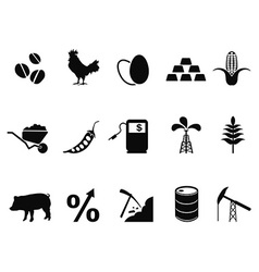 Commodities trading market icons set vector