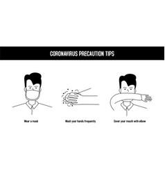 Corona virus precaution tips boy isolated vector