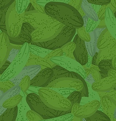 Cucumber pattern Seamless background with green vector image