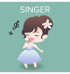 Cute cartoon or mascot singer for introducing vector