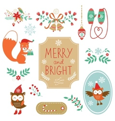 Cute collection of Christmas decorative elments vector image