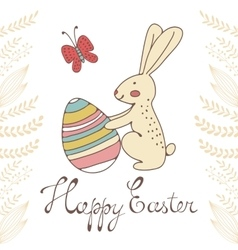 Cute easter card with easter bunny holding egg vector image