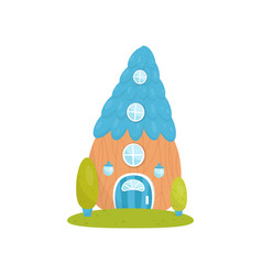 cute small house with blue roof fairytale fantasy vector image
