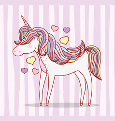 Cute unicorn with hairstyle and horn with hearts vector