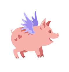 Cute winged piglet with hearts on his back vector