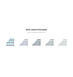 data analytics bars icon in different style two vector image