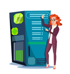 data center hosting server and woman vector image
