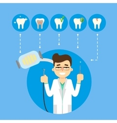 Dental banner with smiling male dentist vector