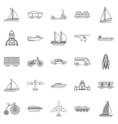deprecated transport icons set outline style vector image