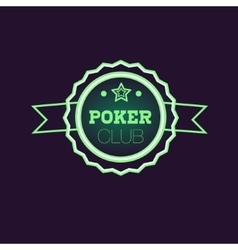 Doble Frame Green Poker Club Neon Sign vector