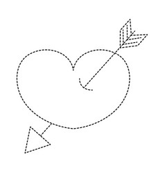 Dotted shape arrow design inside heart love icon vector