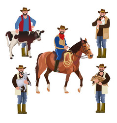 Farmers with pets vector