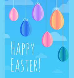 festive easter card with hanging paper origami vector image