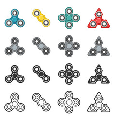 Fidget spinner toy color and line icon set vector