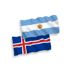 Flags iceland and argentina on a white vector