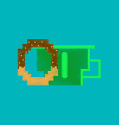 Flat shading style icon pixel cup of coffee and vector