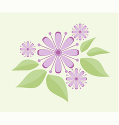 Floral design pink flowers greeting card vector