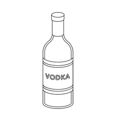 Glass bottle of vodka icon in outline style vector