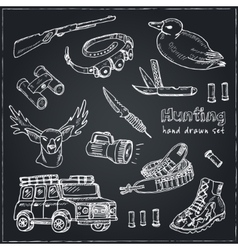 Hand drawn doodle hunting set vector image