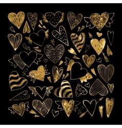 Hand drawn set gold tribal hearts vector