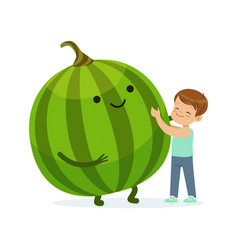 Happy boy having fun with fresh smiling watermelon vector