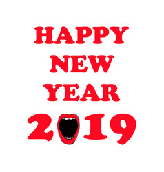 happy new 2019 year woman red lips hand drawn vector image