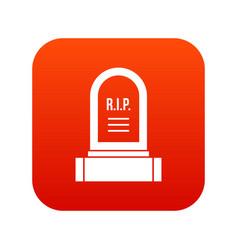Headstone icon digital red vector