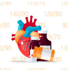 Heart medication concept in flat style vector