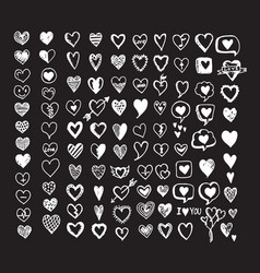 hearts icon set hand drawn vector image