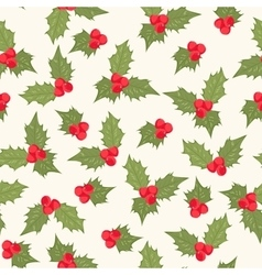 Holly berry mistletoe composition seamless pattern vector image