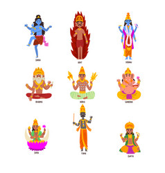 Indian gods set shiva igny vishnu ganesha vector