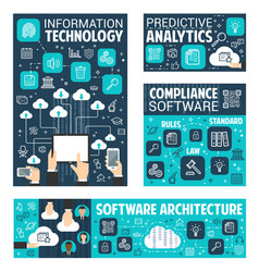 Information data technology posters vector