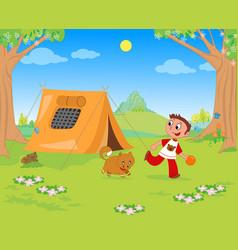 Kid playing at camping vector