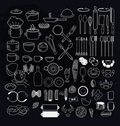 kitchen utensils symbols on blackboard vector image