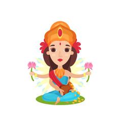lakshmi indian goddess of wealth grace and charm vector image