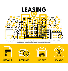 Lease contract concept background outline style vector