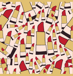 Lipstick seamless pattern color vector