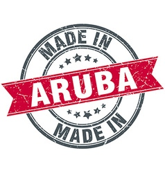 Made in Aruba red round vintage stamp vector