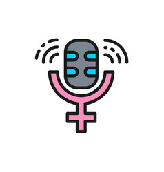 Microphone with gender female symbol public vector