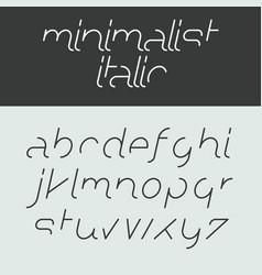 minimalist italic alphabet lowercase letters vector image