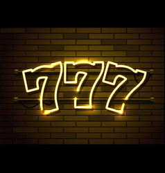 neon 777 slots sign casino neon signboard online vector image