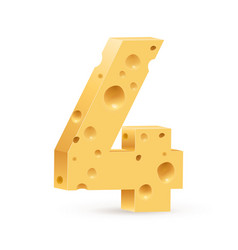 Number four on white for design vector