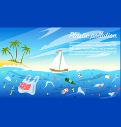 ocean pollution plastic bottle and bags rubbish vector image