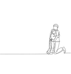 One single line drawing young happy daddy vector