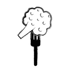 Organ food fork with broccoli vegetable vector