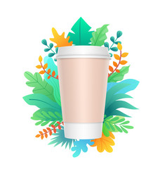 paper coffee cup design with colorful leaves and vector image