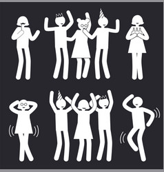 People at party in happy poses white silhouettes vector