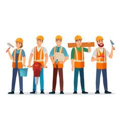 Professional builders team contractor in helmet vector