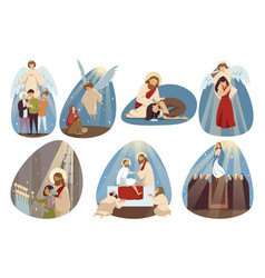 Religion bible christianity set concept vector